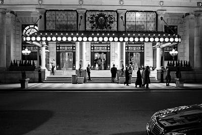 Plaza Hotel Night Bw Poster by Dave Beckerman