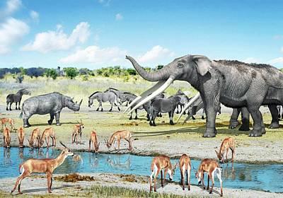 Pliocene Fauna Poster by Jose Antonio Pe�as
