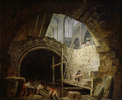 Plundering The Royal Vaults At St. Denis In October 1793 Oil On Canvas Poster by Hubert Robert