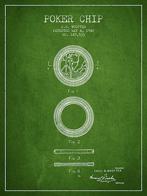 Poker Chip Patent From 1948 - Green Poster by Aged Pixel