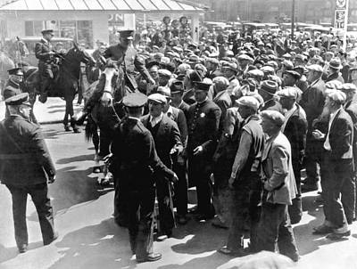 Police Confront Sf Strikers Poster by Underwood Archives