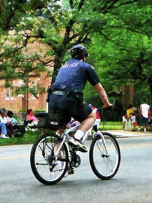 Policeman - Police Bicycle Patrol Poster by Susan Savad