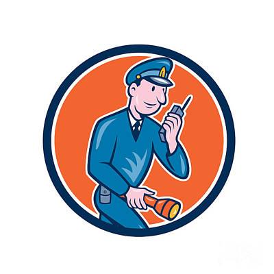 Policeman Torch Radio Circle Cartoon Poster by Aloysius Patrimonio