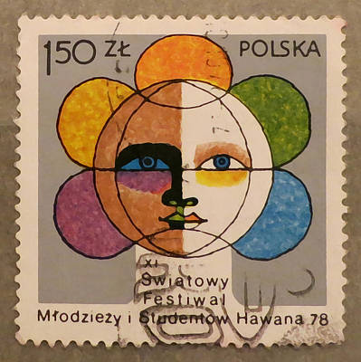 Polish Stamp - World Festival Of Youth And Students In Havana 1978 Poster by Patricia Januszkiewicz