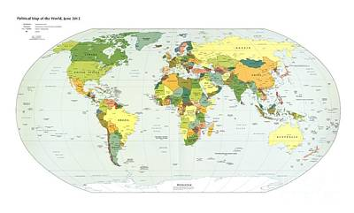 Political Map Of The World, 2012 Poster by Library Of Congress