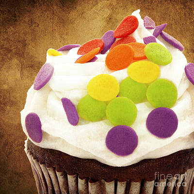 Polka Dot Cupcake 2 Square Poster by Andee Design