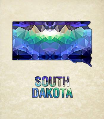 Polygon Mosaic Parchment Map South Dakota Poster by Elaine Plesser