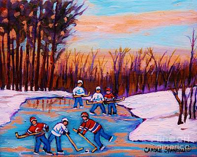 Pond Hockey Canadiens Superstars Frozen Pond Winter Landscapes  Carole Spandau Paintings Poster by Carole Spandau