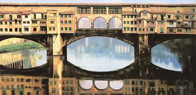 Ponte Vecchio A Firenze Poster by Guido Borelli