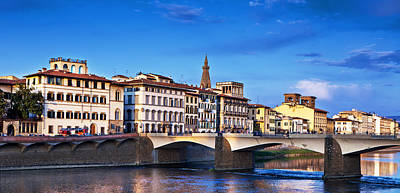 Ponte Vecchio Bridge At Twilight Poster by Susan Schmitz