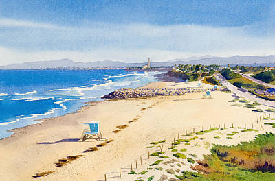 Ponto Beach Carlsbad California Poster by Mary Helmreich