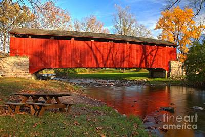 Poole Forge Covered Bridge Reflections In The Conestoga Poster by Adam Jewell