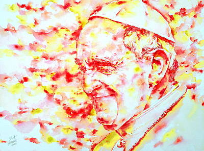 Pope Francis Profile -watercolor Portrait Poster by Fabrizio Cassetta