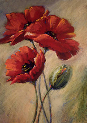 Poppies And Bud Poster by Linda Smith