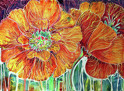 Poppies Batik Abstract Poster by Marcia Baldwin