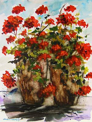 Porch Geraniums Poster by John  Williams