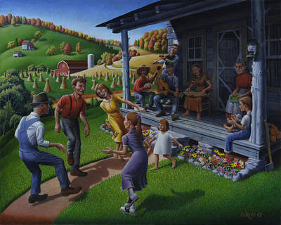 Porch Music And Flatfoot Dancing - Mountain Music - Appalachian Traditions - Appalachia Farm Poster by Walt Curlee