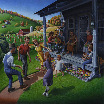 Porch Music And Flatfoot Dancing - Mountain Music - Farm Folk Art Landscape - Square Format Poster by Walt Curlee