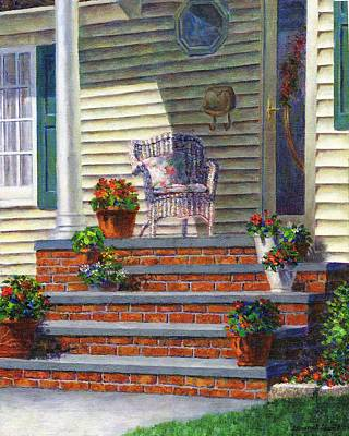 Porch With Pots Of Geraniums Poster by Susan Savad
