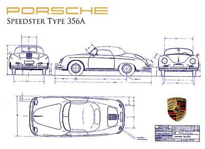 Porsche 356a Blueprint  Poster by Jon Neidert