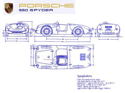 Porsche 550 Spyder Blueprint  Poster by Jon Neidert