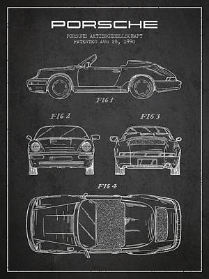 Porsche Patent From 1990 - Dark Poster by Aged Pixel