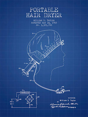 Portable Hair Dryer Patent From 1968 - Blueprint Poster by Aged Pixel