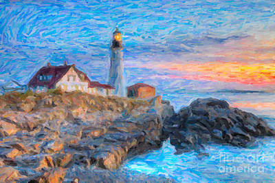Portland Head Light At Sunrise Impasto I Poster by Clarence Holmes