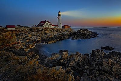 Portland Head Light Sunrise Poster by Susan Candelario