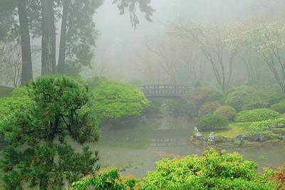 Portland Japanese Garden Fogged Poster by Michel Hersen