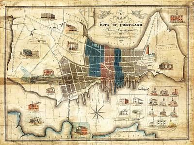 Portland Maine 1836 Map By John Cullum Poster by Tim Sullivan