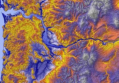 Portland Oregon Map Art Poster by Paul Hein