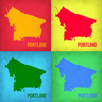 Portland Pop Art Map 1 Poster by Naxart Studio
