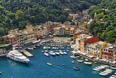Portofino Harbor From Above Poster by George Oze