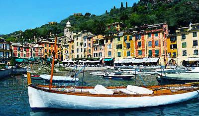 Portofino Harbor Scene Poster by J Marielle