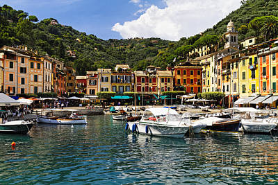 Portofino Inner Harbor View Poster by George Oze
