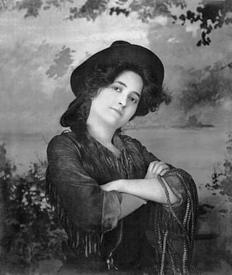 Portrait Of A Cowgirl Poster by Underwood Archives