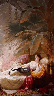 Portrait Of Adelaide Maria Guiness Reclining On A Sofa In A Conservatory Poster by George Elgar Hicks