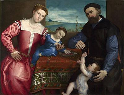 Portrait Of Giovanni Della Volta With His Wife And Children Poster by Lorenzo Lotto