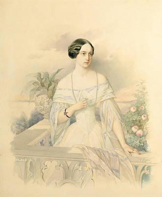 Portrait Of Grand Duchess Olga Nikolaevna Poster by Vladimir Ivanovich Hau
