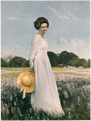 Portrait Of Mrs Lyndon B Johnson Poster by Mountain Dreams