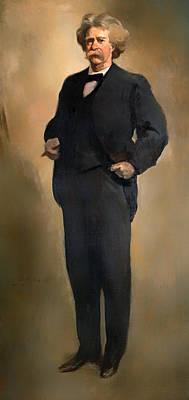 Portrait Of Samuel L Clemons - Mark Twain Poster by Mountain Dreams