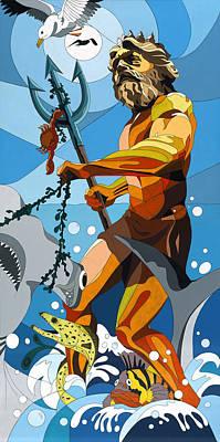 Poseidon - W/hidden Pictures Poster by Konni Jensen