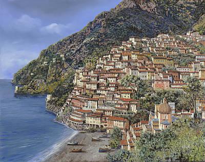 Positano E La Torre Clavel Poster by Guido Borelli