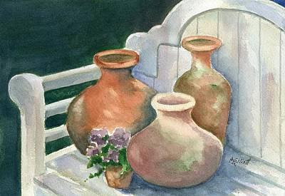 Pots At Andys Garden Poster by Marsha Elliott