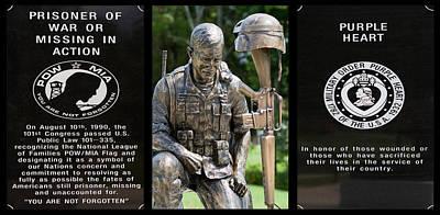 Pow - Mia - Purple Heart Soldier Memorial Poster by Kathy Clark