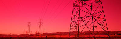 Power Lines In The Valley, Central Poster by Panoramic Images