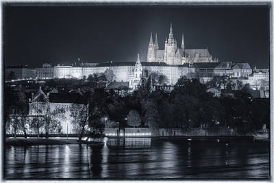Prague Castle At Night Poster by Joan Carroll