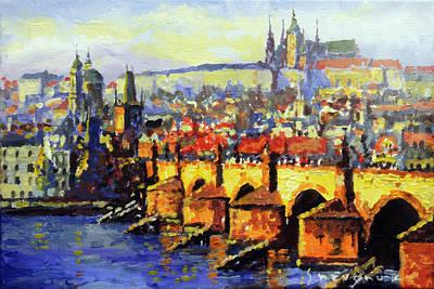 Prague Panorama Charles Bridge Poster by Yuriy Shevchuk