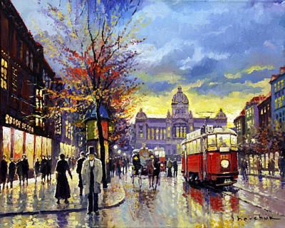 Prague Vaclav Square Old Tram Imitation By Cortez Poster by Yuriy  Shevchuk
